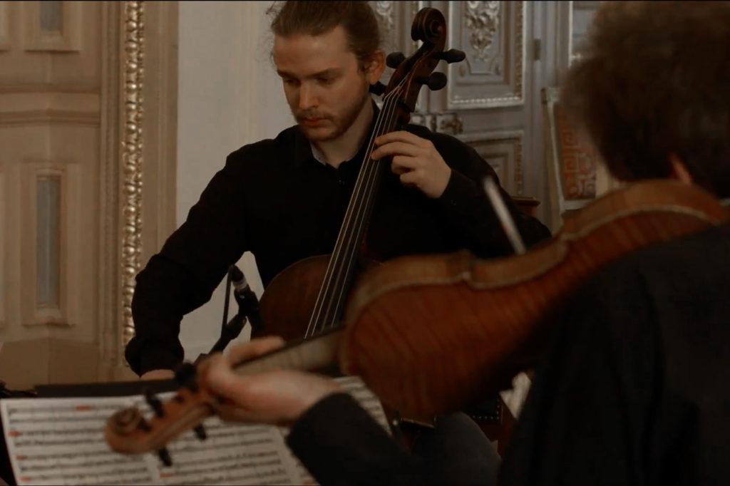 Edouard Catalan violoncelle baroque Baptiste Lopez violon baroque Palais Vivienne Paris Bach Ricercar a 6